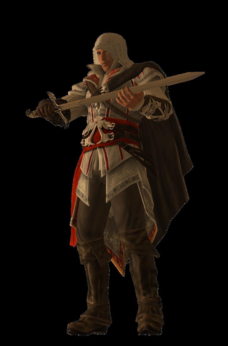 HQ Ezio Render: Holding Sword by Ninja-Jaiden