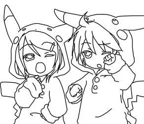 Rin and Len Pikachu by Nagaoka-K-project