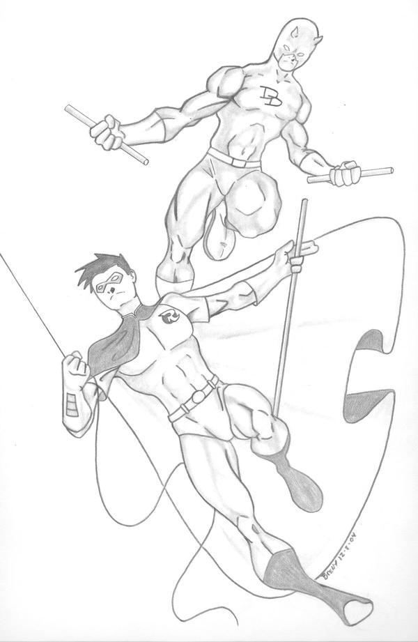 Daredevil and Robin by BrentHibbard