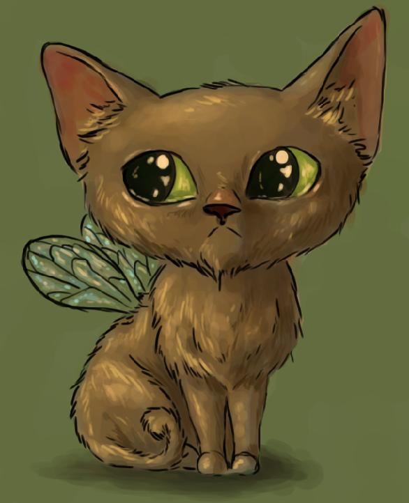 A kitty on light wings by Virtuxa