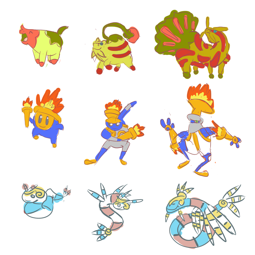 new Starter Fakemon sketches by OddPenguin on DeviantArt