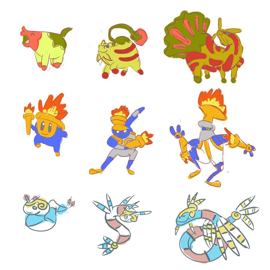 new Starter Fakemon sketches by OddPenguin on DeviantArt