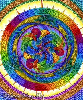 Psychedelic Dragons Rainbow Mandala