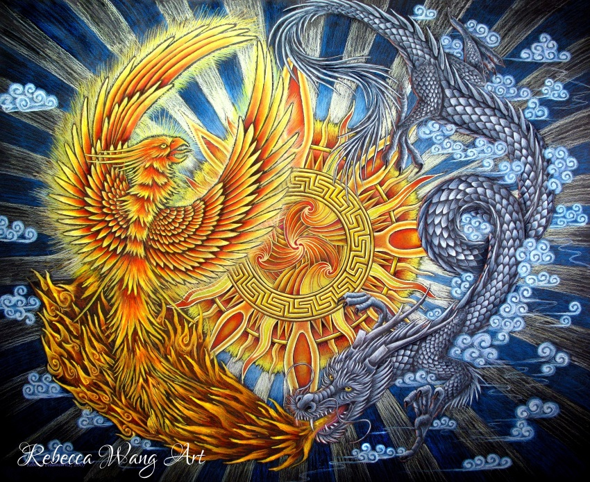 Phoenix and Dragon by rebeccawangart