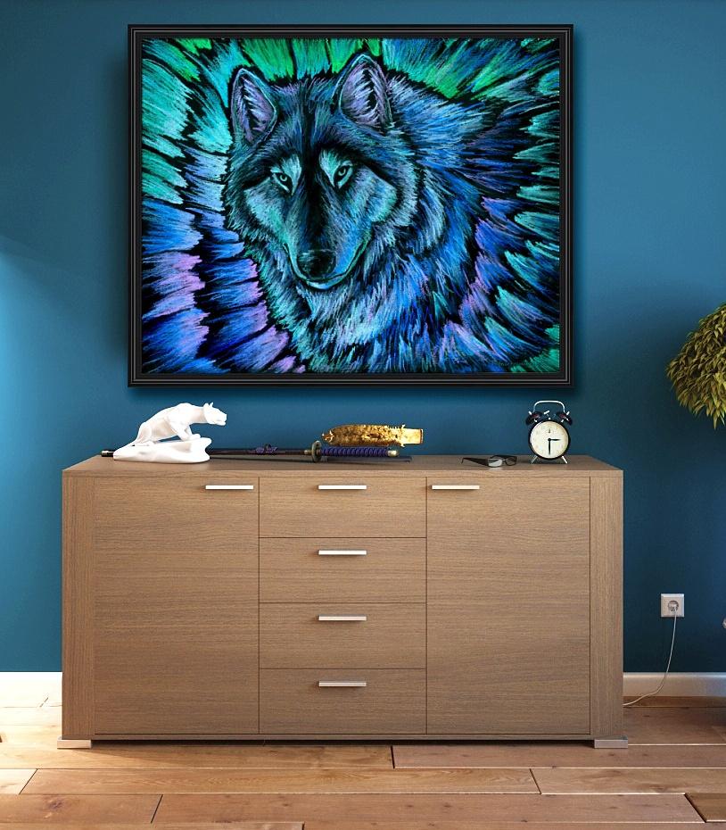Wolf Aurora Framed Mockup2 by psychedeliczen