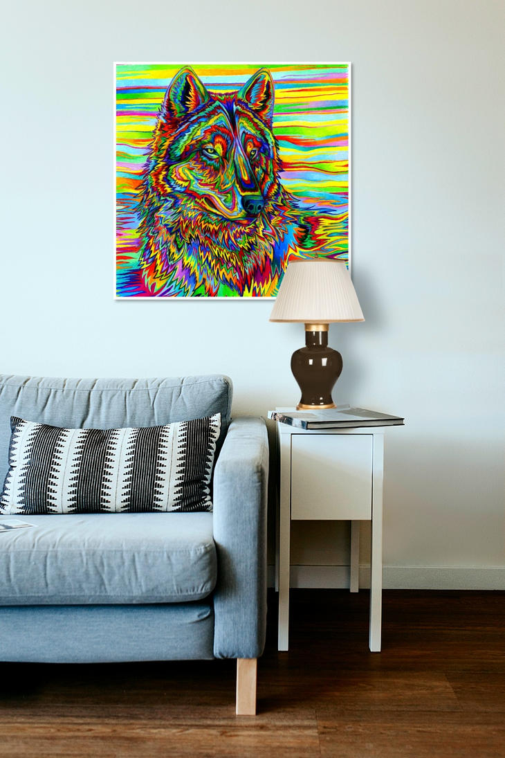 Psychedelic Wolf poster by psychedeliczen