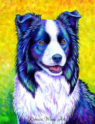 Colorful Border Collie Dog by rebeccawangart