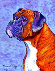 Devoted Guardian - Colorful Brindle Boxer Dog