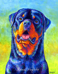 Gentle Guardian Colorful Rottweiler Dog