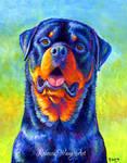 Gentle Guardian Colorful Rottweiler Dog