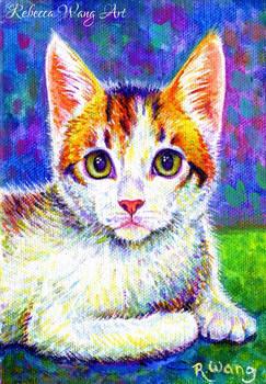 Colorful Pet Portrait - Sunny the Calico Kitten