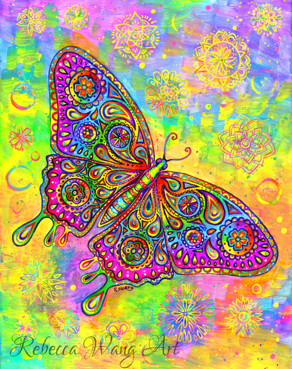 Psychedelic Paisley Butterfly by rebeccawangart