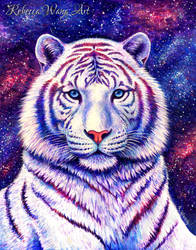Among the Stars - Colorful Cosmic White Tiger by rebeccawangart