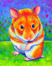 Colorful Pet Portrait - Tumbleweed the Hamster