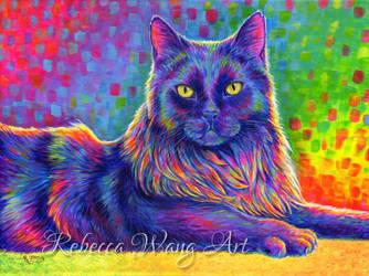 Colorful Pet Portrait - Felix by rebeccawangart