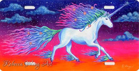 Unicorn License Plate Art