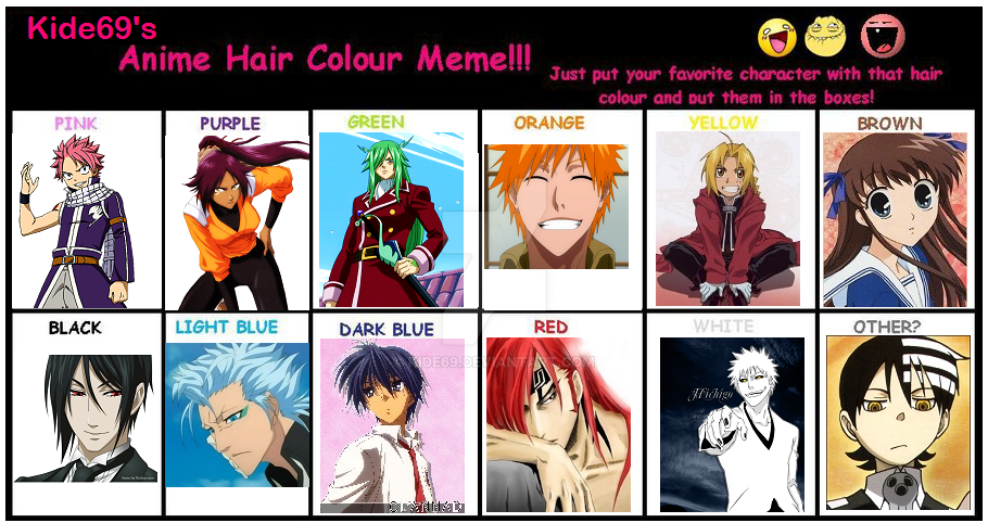 Anime Hair Color Meme By Kide69