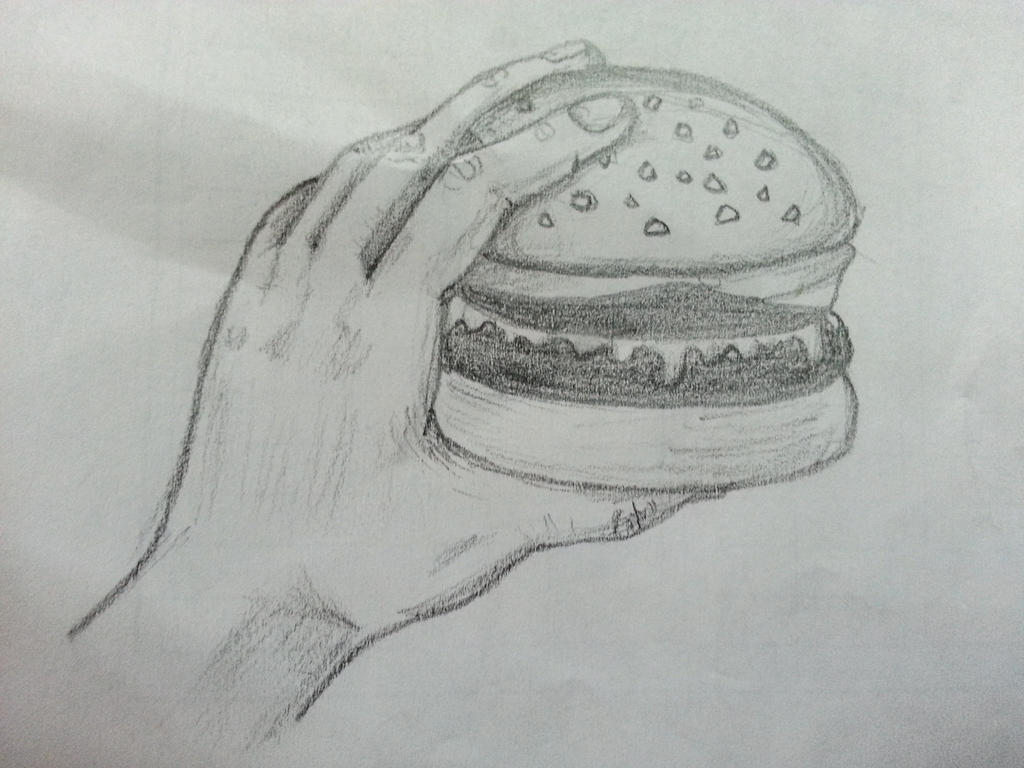 Hand holding a burger by kzhitij on DeviantArt Hands Holding Something Drawing