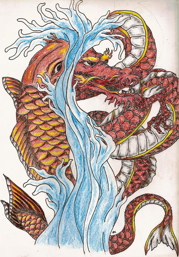 Koi and dragon by therenegadeartist on deviantart for Dragon koi fish