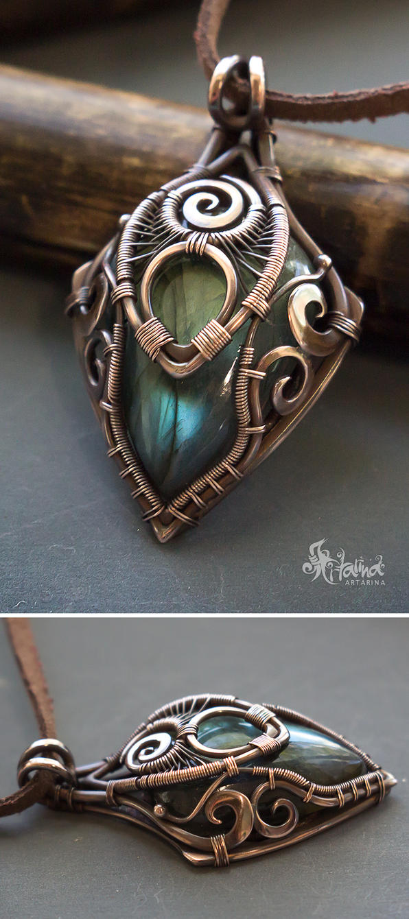 Copper wire wrapped pendant with blue labradorite by Artarina on ...