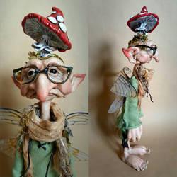 SOLD: OOAK Mushroom Collector Faerie Art Doll