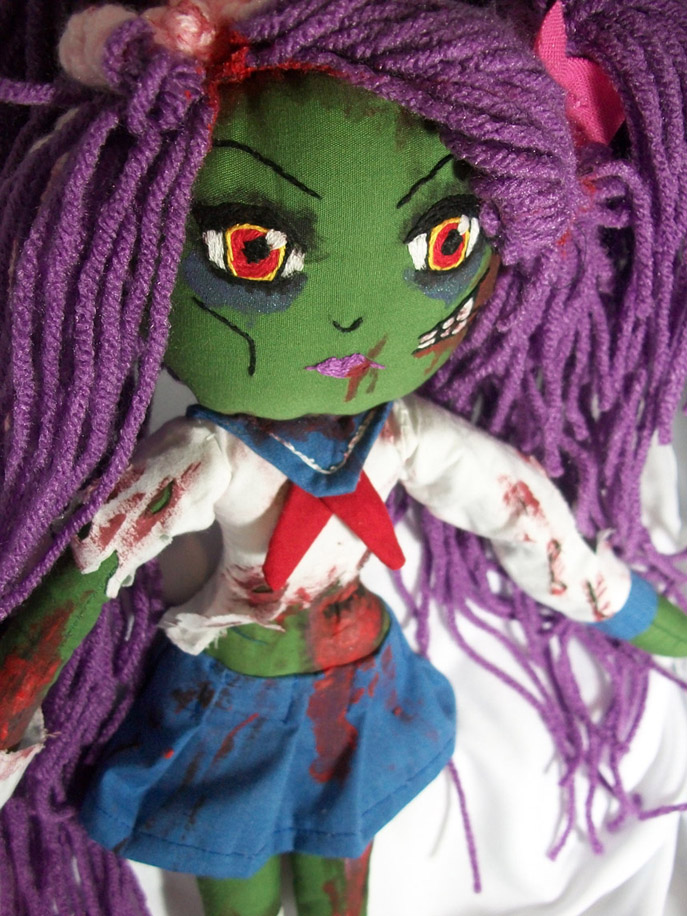 Zombie Japanese School Girl by dollmaker88