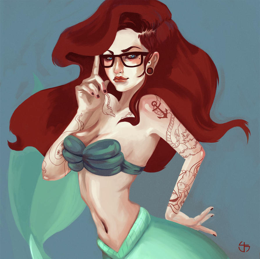 Little Mermaid Hipster by Scendre-Lab