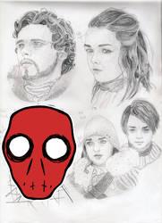 Sketch Dump: Robb and Arya Stark by haileyXheartless
