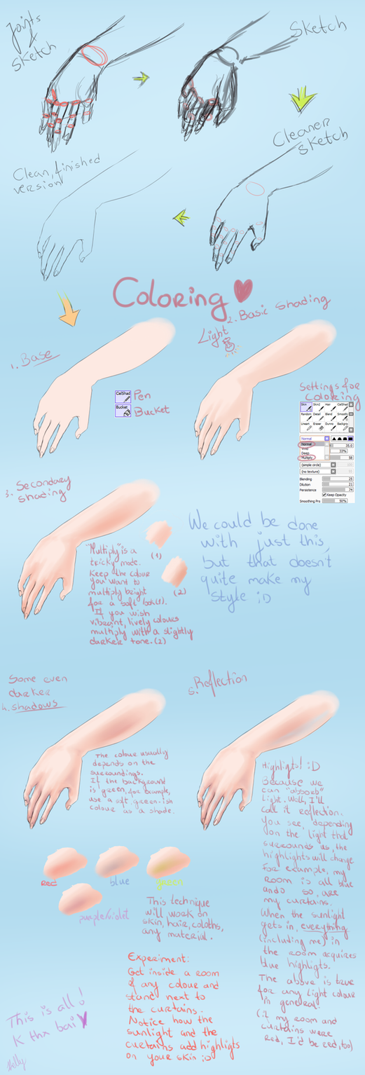Hand Tutorial - Colouring- by frijda