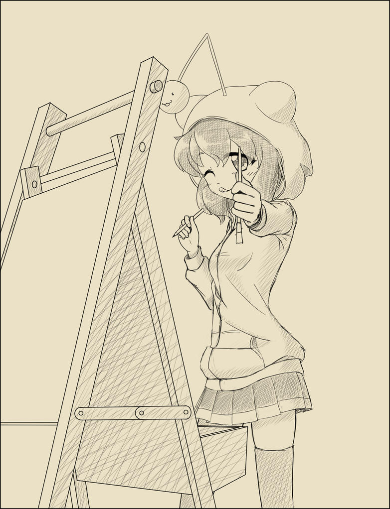 Reddit-tan doing a painting by AnArtistApprentice