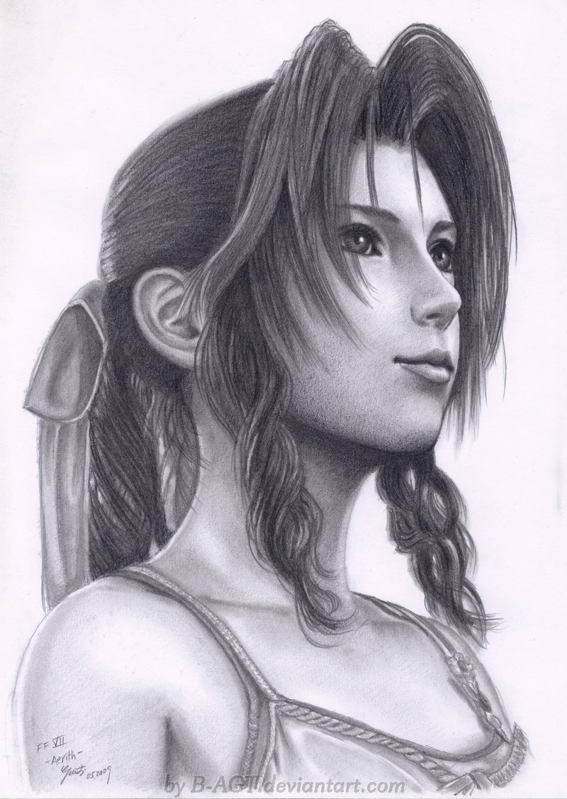 Aerith final fantasy vii by b agt on deviantart for Cool fantasy drawings