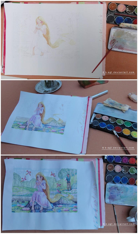 Rapunzel Watercolor WIP by B-AGT