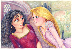 Rapunzel and Gothel Tangled