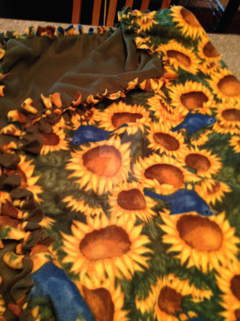 Sunflower No Sew Fleece Blanket by FoxofShadows