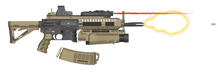 Hk416 moddified by crossarmament on deviantart
