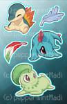 Stickers: HeartGold/SoulSilver Starters