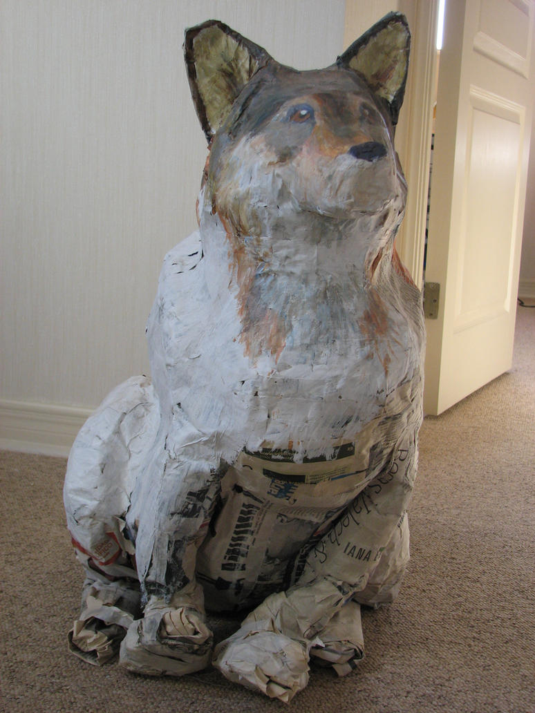 Paper mache wolf by javilafleur for What to make out of paper mache
