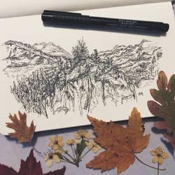 Mountainsides // pen sketch