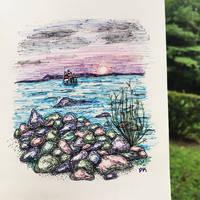 A beach // ballpoint pen sketch