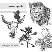 MajesticPaula Designs // drawings for sale