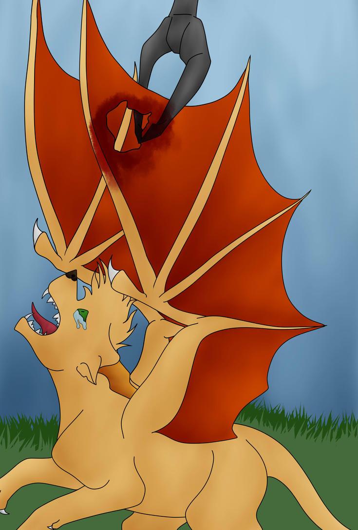 Dakota's wing problem(Added Blood) by Redwolfless