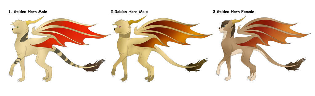 Golden Horned Dakotian FREE Adopts Batch(CLOSED) by Redwolfless