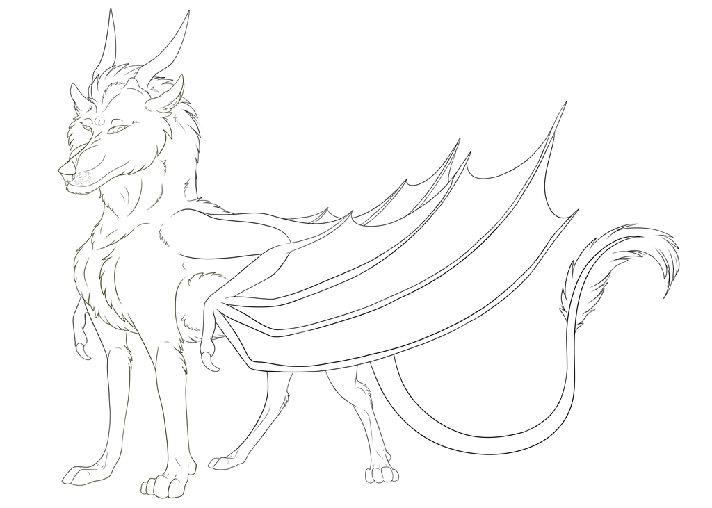 Golden Horned Dakotian Male Lineart by Redwolfless