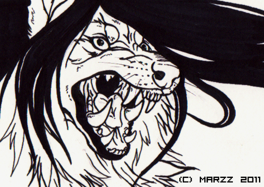 ACEO - Grypwolf - lineart by Marzzunny