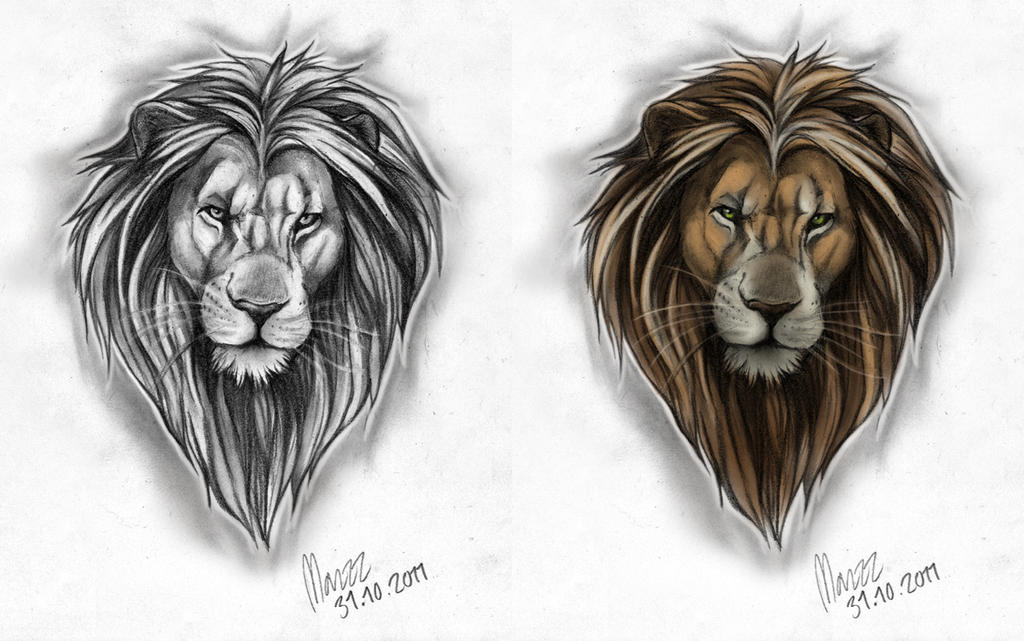 Male lion Tattoo design by Marzzunny