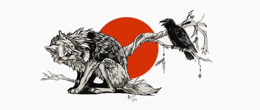 Wolf and Raven by Marzzunny