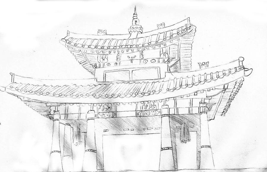 Картинки китайских храмов карандашом