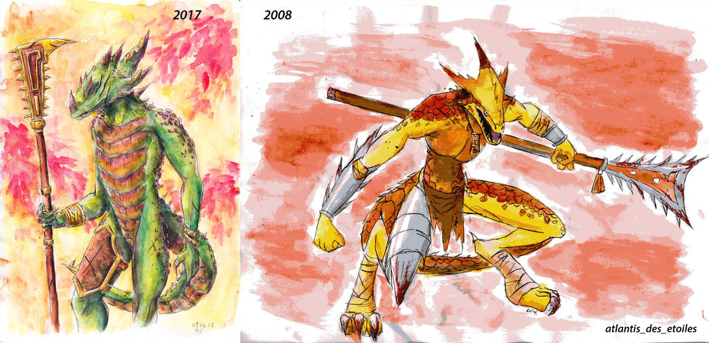 Lizard man-before and then by atlantisdesetoiles on DeviantArt