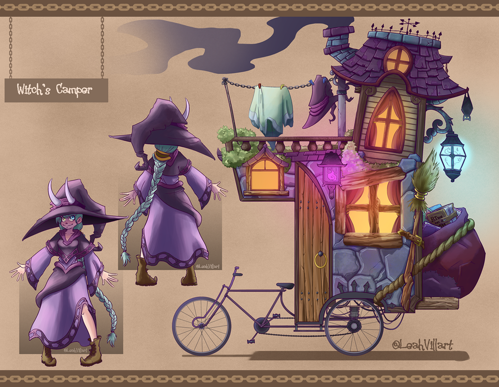 Witch and Bike Mansion Camper by LeahVillart