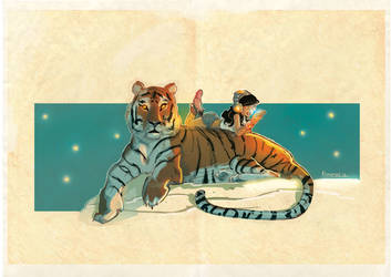 the girl and the tiger by Jovan-Ukropina